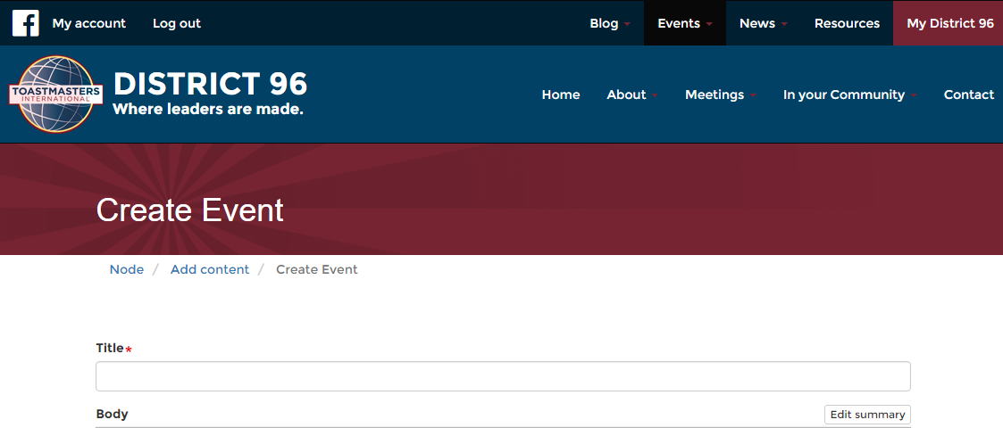 Screen Shot of the Create Event Page.