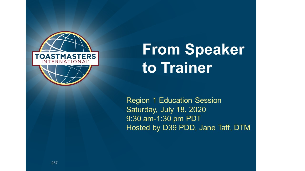 From Speaker to Training July 18 9:30 AM