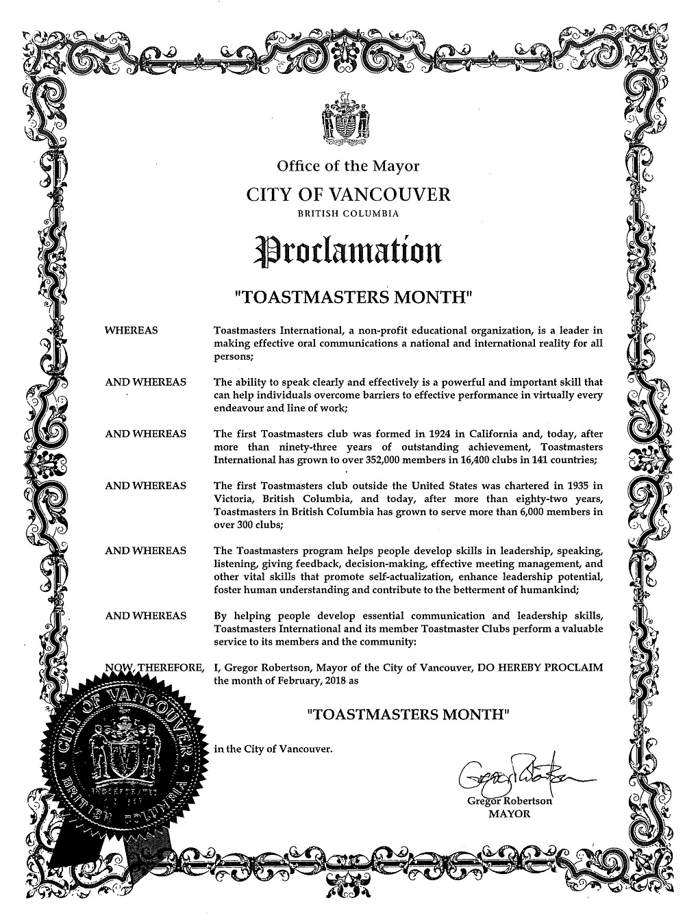 City of Vancouver Proclamation