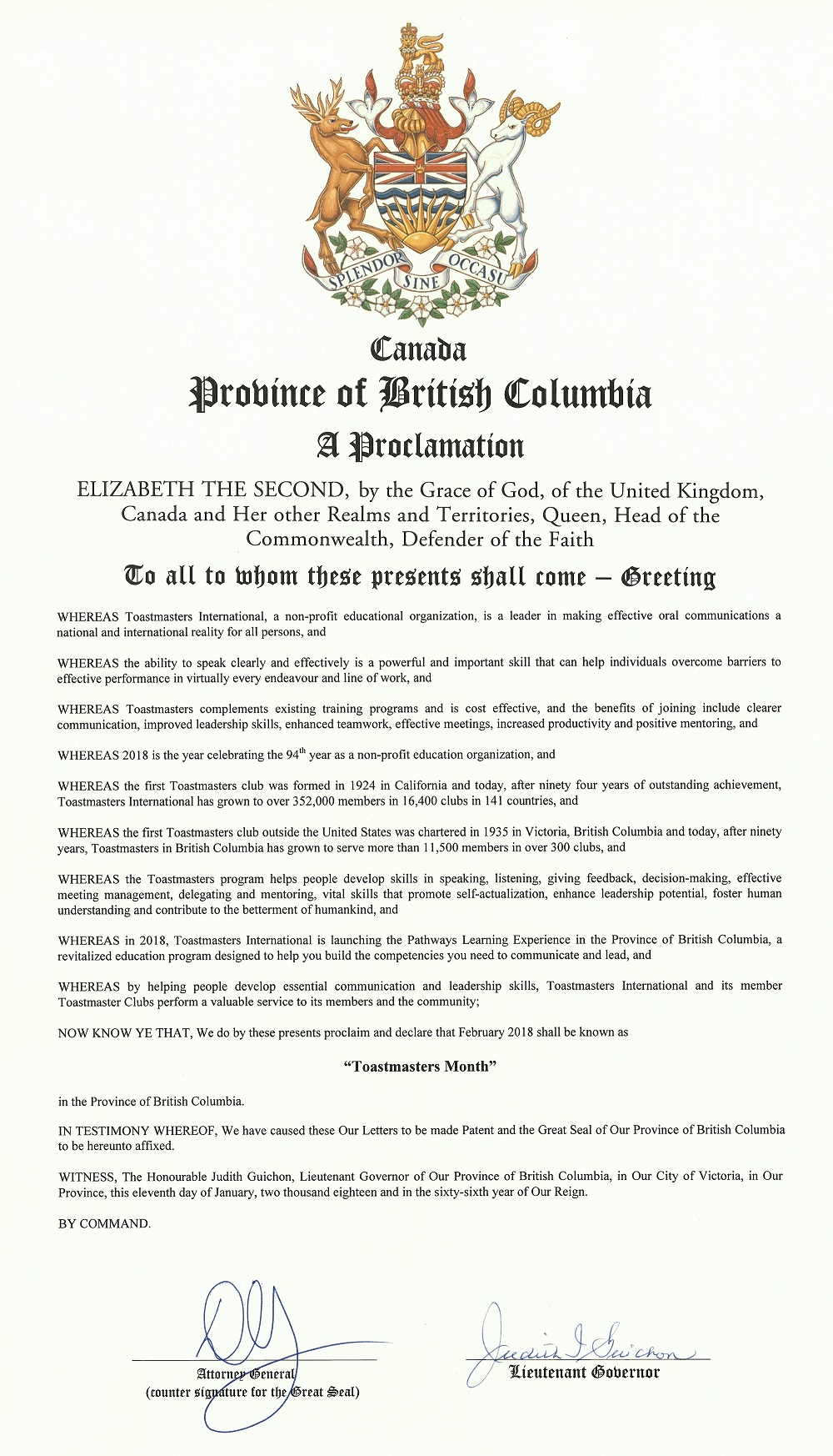 "Province of British Columbia Proclamation Proclaiming that February 2018 shall be known as ""Toastmasters Month"" in the Province of British Columbia!"