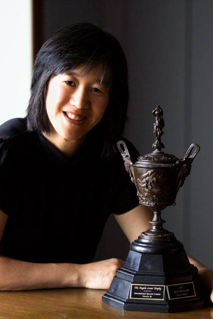 Angela Louie with her trophy