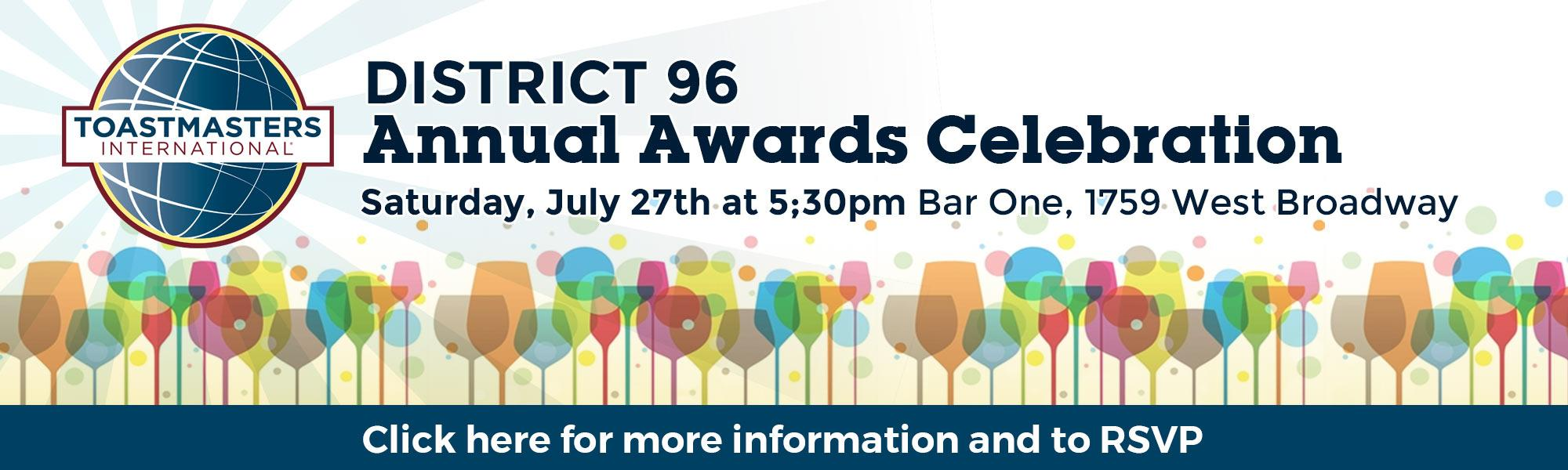 District 96 Awards Night. Click banner to RSVP and more information