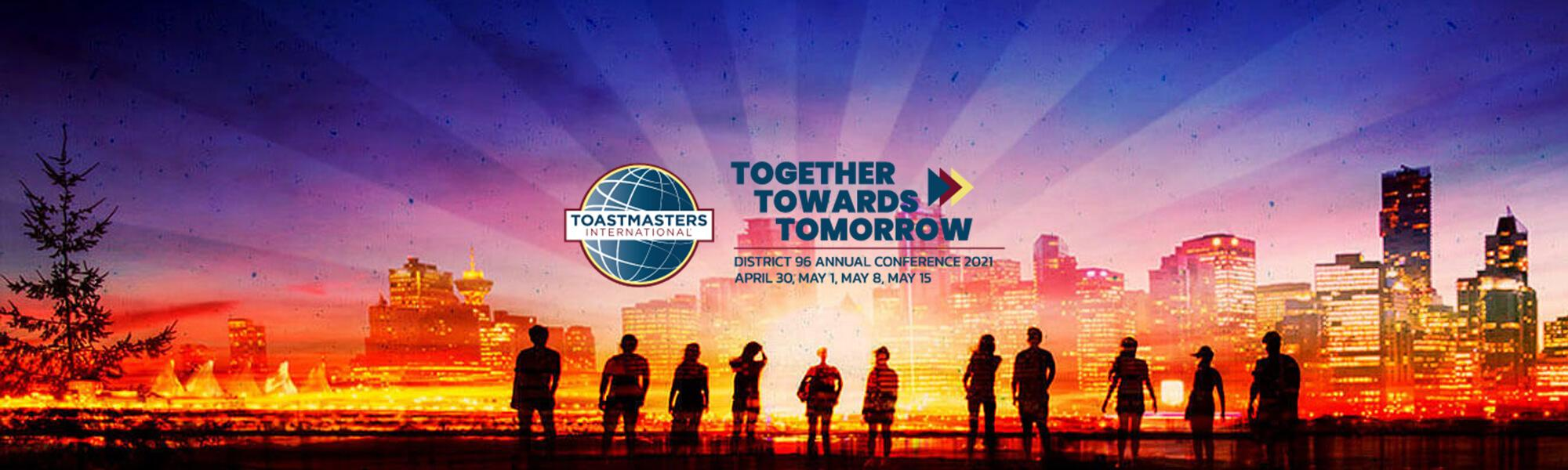 """Together Towards Tomorrow"" slogan with a group of people silhouetted looking at a city at sunset"