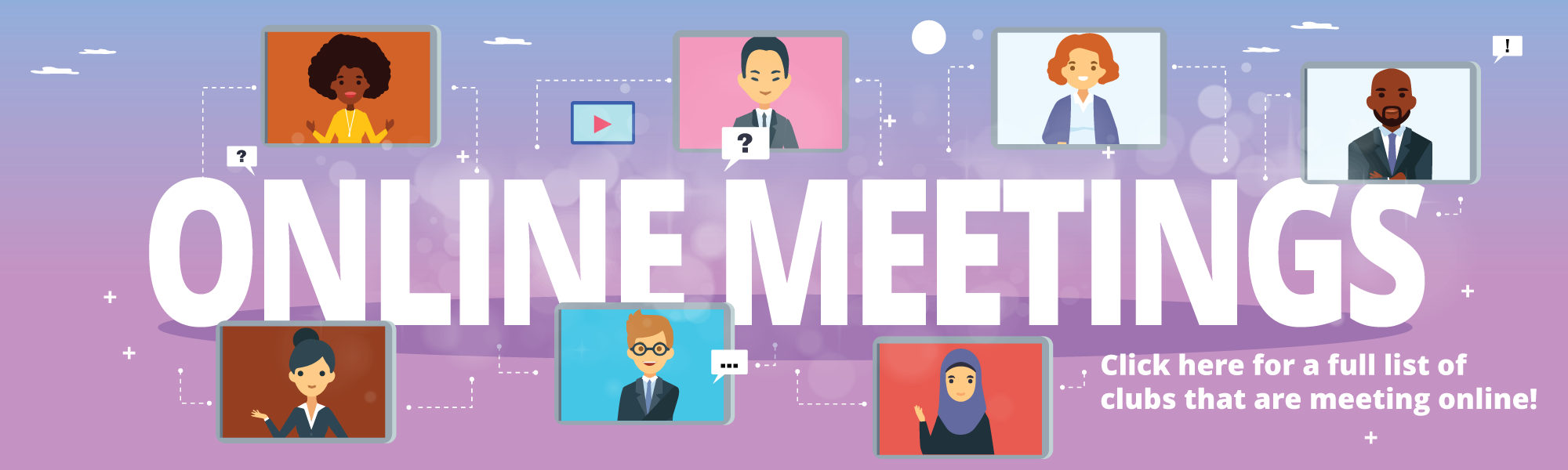 "Images of people on a screen surrounding the words ""Online Meetings"""