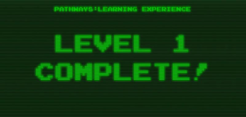 "The words ""Level 1 Complete"" in styled to look like the words on an old green computer screen."